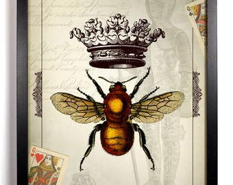 The Queen Bee, Home, Kitchen, Nursery, Bath, Dorm, Office Decor, Wedding Gift, Housewarming Gift, Unique Holiday Gift, Wall Poster