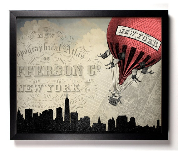 Hot Air Balloons In New York, Home, Kitchen, Nursery, Dorm, Office Decor, Wedding Gift, Housewarming Gift, Unique Holiday Gift, Wall Poster