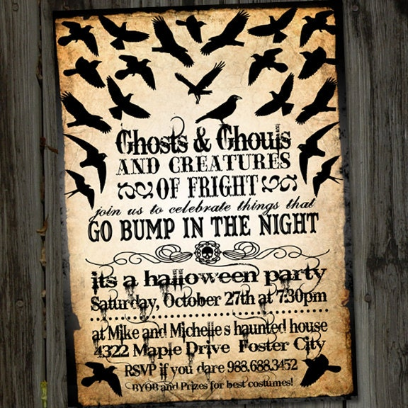Vintage retro the birds halloween printable party invitation for Vintage halloween party invitations