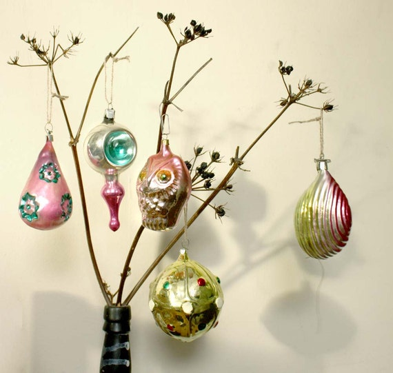 6 Large Christmas Tree Decorations/ Mercury Glass Ornaments. Vintage Midcentury Russian Traditional Glass Baubles. SET 3