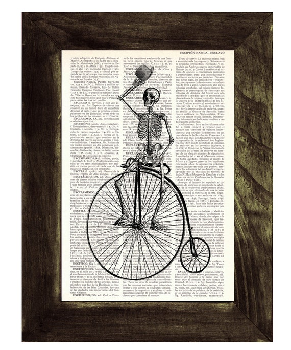 Summer Sale Dictionary print  Antique Bicycle riding Skeleton Print on Vintage Book page SKA014