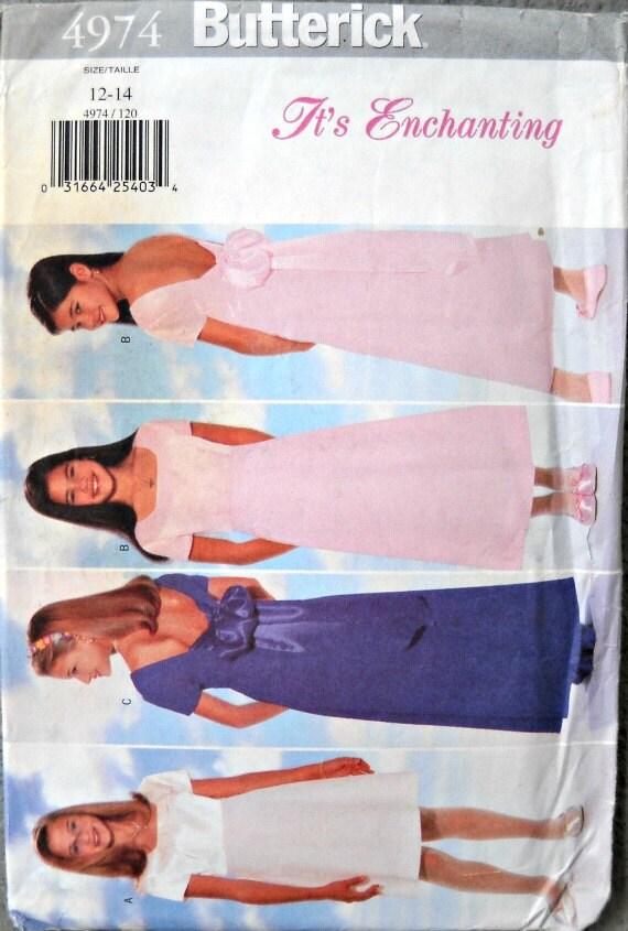 Butterick 4974, It's Enchanting, Girls Dress Pattern, Easy, Size 12 - 14