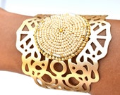 Ivory and gold lace cuff bracelet