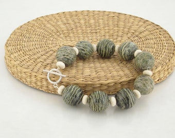 Fabulous Bracelet in Zebra Jasper & Riverstone Beads w/SS Toggle Clasp