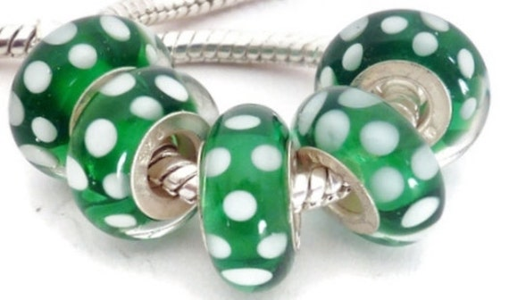 Green with White Dots European Style Large Hole Bead with a Sterling Silver Core