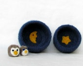 Free Shipping - Felt bowls blue - Cozy little vessel with yellow moon and star - nesting wool bowls set of two - mother day gift