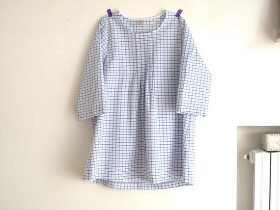 Blue plaid women's  pleated blouse, japanese style top, cotton pleated shirt. Sizes US 4. Ready to ship.