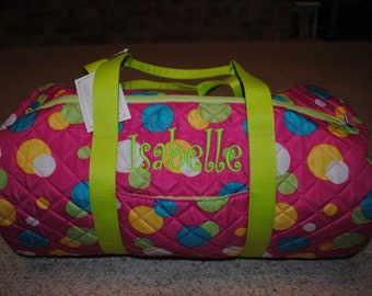 Personalized Custom Embroidered Round Quilted Duffel Bag Pink Polka Dot with Lime Handles Dance Cheer Gym Gymnastic