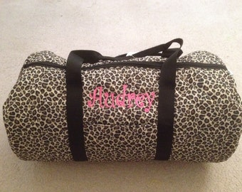 Personalized Custom Embroidered Round Quilted Duffel Bag Leopard with Black Handles With addition of gymnast