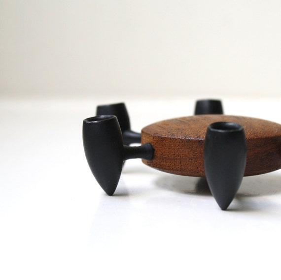 Mod Atomic Cast Iron & Teak Candle Holder Digsmed Denmark
