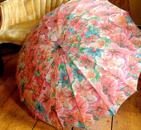 Vintage Floral Umbrella Parasol With Ornate Metal Handle