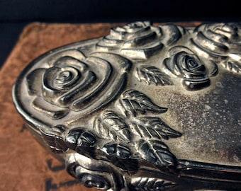 Godinger vintage silverplate box-jewelry, treasure, roses