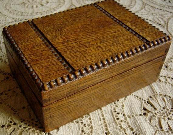 Antique 1900s Oak Wood Box Beaded Trim