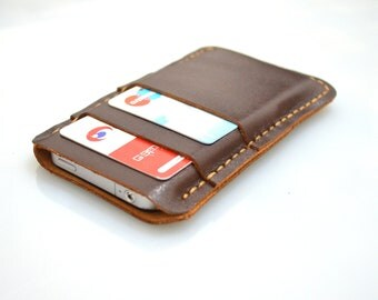 Gift iDeas For Him Gadget Cases -iPhone 5 5s Wallet Leather iPhone 5 sleeve wallet hand stitched duo brown leather card and cash
