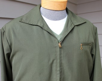 vintage 1950's Men's 'Ricky' jacket. Green sharkskin-like material. Outstanding condition. Large - Extra Large