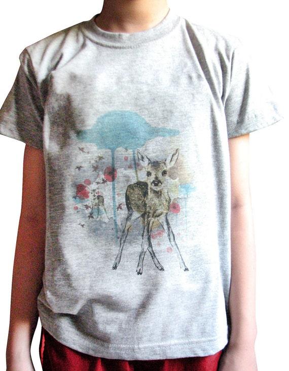 Deer T-shirt (Grey) - Animal Art and Design on Children's T-shirt