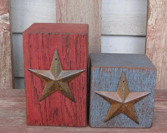 Primitive Americana Barn Beam Candle Holders