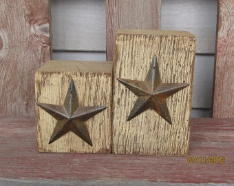 Primitive Tan Barn Beam Candle Holders