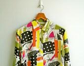 Vintage Polka Dot and Color Brush Stroke Art Printed Long Sleeves Shirt LARGE