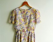 Vintage Romantic Floral Garden Printed Short Puff Sleeves Bow Tie  Dress SMALL