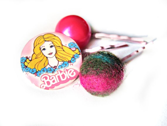 Barbie hair pins - Cameo, classic barbie, retro, doll, vintage - Felt, pearl, pink pearl - fun bobby pins, retro bobby pins, pinup, cute