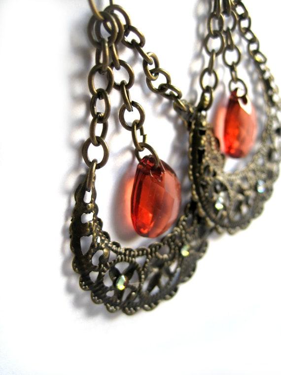 Red drop earrings - Metal lace earrings, moon, filigree - Swarovski crystals, chains, chain earrings - Baroque style, Chandelier earrings