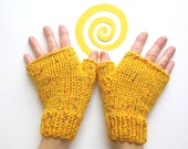 Phone Friendly Finger LOVE, Fingerless Gloves, Wrist Warmers, School Bus Yellow, Practical  Stylish and Chic