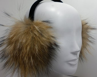Raccoon Fur Earmuffs made in usa new