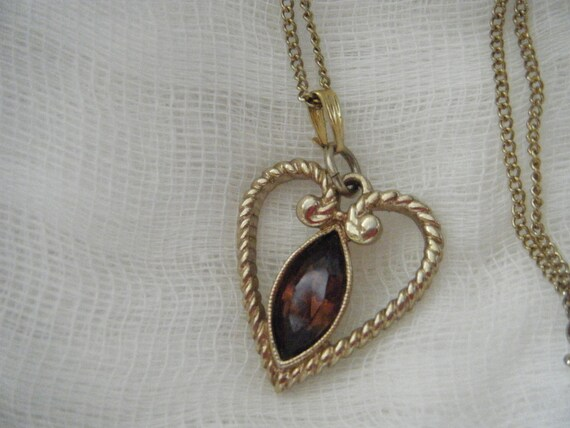 AVON Belleville Amber Heart Necklace