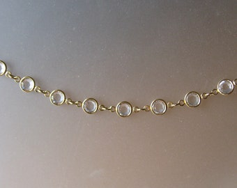 Swarovski Clear Crystal and Gold Channel Station Bracelet, Weddings, Bridal Jewelry, Formal