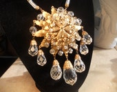 Multifaceted crystal and Russian gilt Haskell style necklace ------ reserved for bnyc1