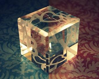 25% OFF SALE: Custom Engraved Crystal Baby Block