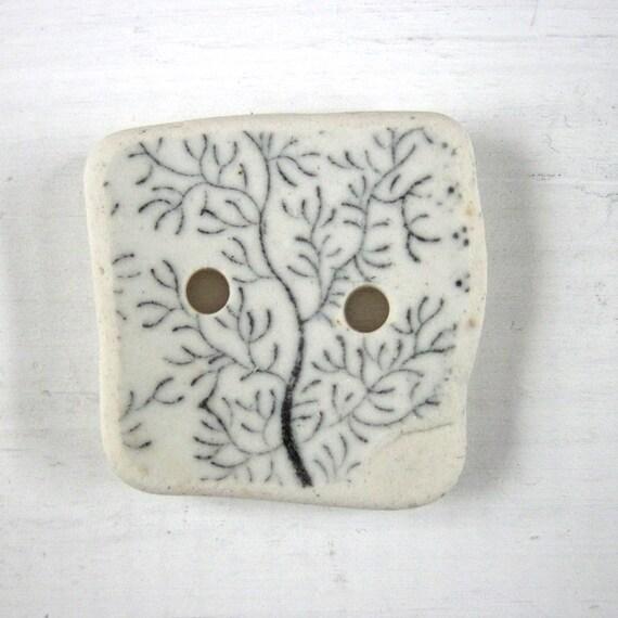 Square beach pottery button