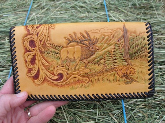 Leather Checkbook or Credit Card Wallet With Elk & Sheridan Floral Carving
