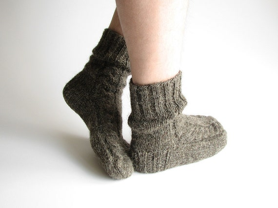 100% Natural Organic Undyed Wool - Hand Knitted Woolen Men's Socks - Autumn Winter Eco Clothing