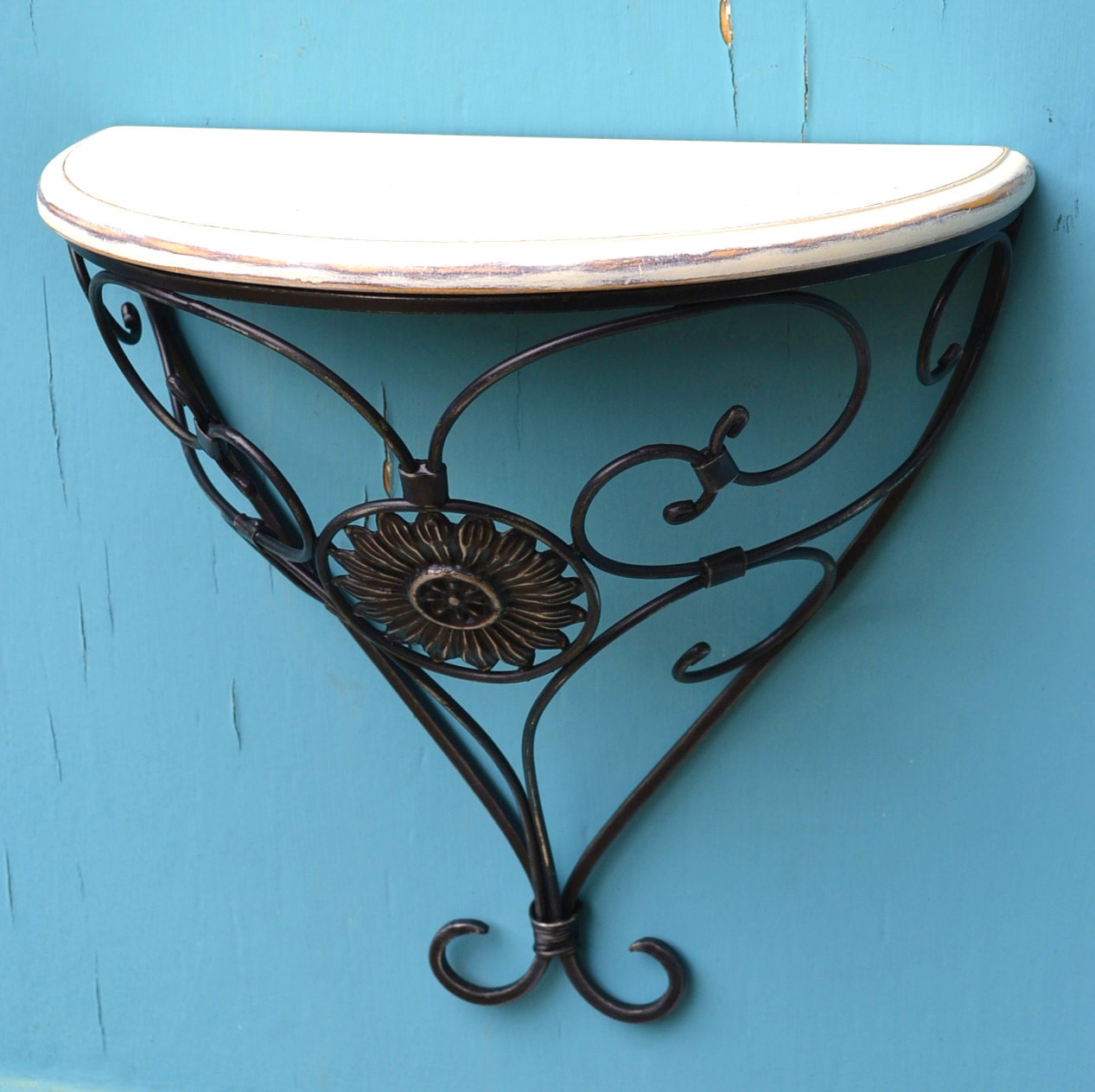 Wonderful image of Vintage Wall Shelf Sconce Wrought Iron And Wood by CasanovaHome with #2D7F9E color and 1267x1264 pixels