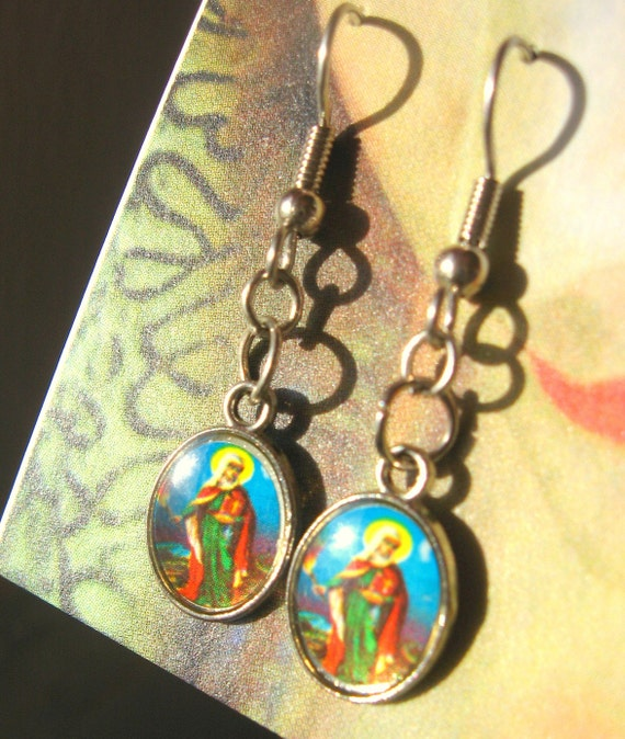 Silver and Enamel Saint Earrings Religious Protection Charms People Figures Fish hook style