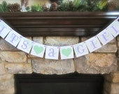 IT'S A GIRL baby shower decoration, banner, sign, lavender, mint
