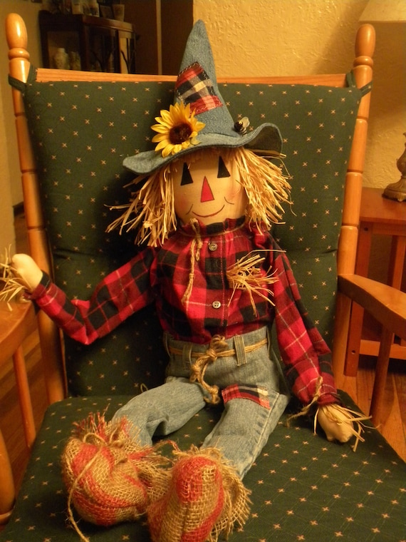 Handmade Scarecrow Rag Doll  37 inches .Great Fall Decoration