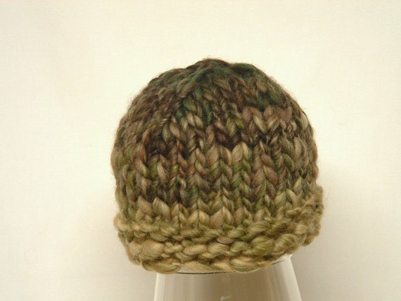 Newborn Beanie from Chunky Handspun Merino Yarn Baby Boy Hat tan green brown