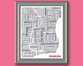 Philadelphia Typography Map 8x10 Print
