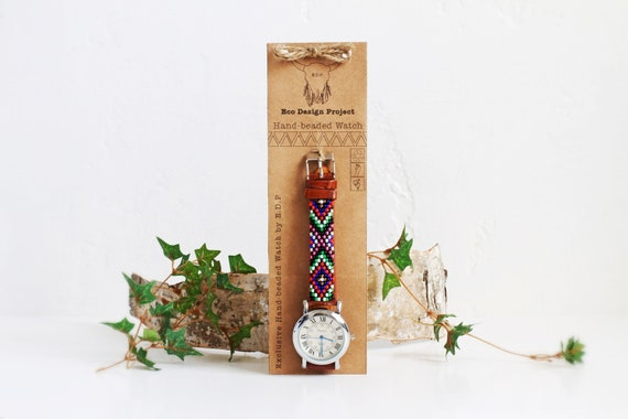 Free shipping US,Native American inspired hand-beaded watch.southwestern,beadwork,brown,leather,handmade