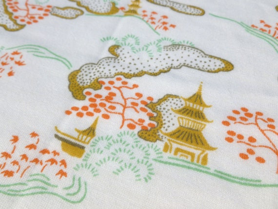 Chinoiserie Fabric with Asian Landscape, Pagodas, Trees and Clouds Stretch Cotton Polyester Blend Knit 1 Yard Destash by Klopman Mills