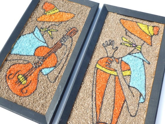 Calypso Gravel Art Wall Hangings Guitar and Bongo Drum Musicians Mid Century Mod Retro 1960s Kitschy Decor