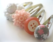 Hair Accessories -  Hair Snap Clips : Funky Hair Clips - Pink White and Grey Mix of Snap Clips - Flowers and Buttons Set of Four