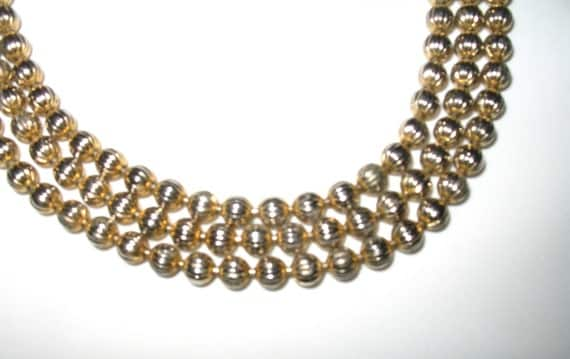 Elegant Vintage Three Strand Textured Bead Necklace