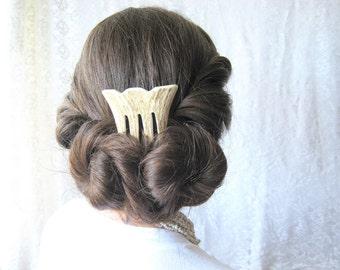 Elk Antler Bridal Hair Comb Hair Fork Carved Horn