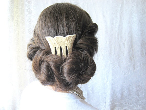 Raw Beauty - Elk Antler Bridal Hair Comb Hair Fork Carved Horn Bone Hair Ornament Jewelry Long Hair Toy