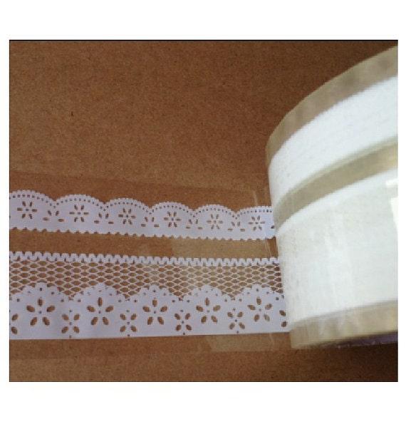 Transparent Wide Lace Deco Tape Pattern No. 11 - 5cm x 15m (49 ft)