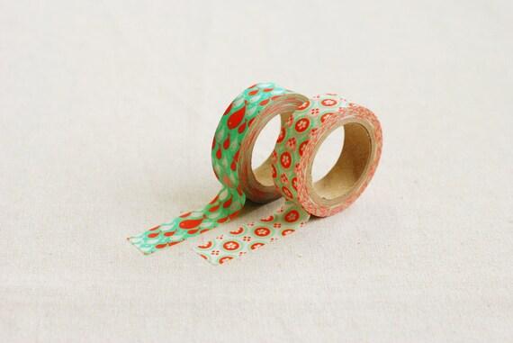 Orange, Green, White Fish and Floral Pattern Masking Tapes Set of 2